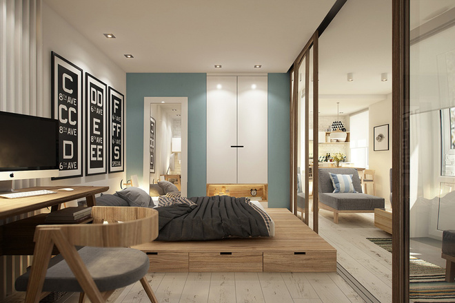 Không gian phòng khách được hòa chung với không gian làm việc nhưng bố cục sắp xếp vẫn hài hòa, không rời rạc và quan trọng vẫn đảm bảo tính thẩm mỹ.