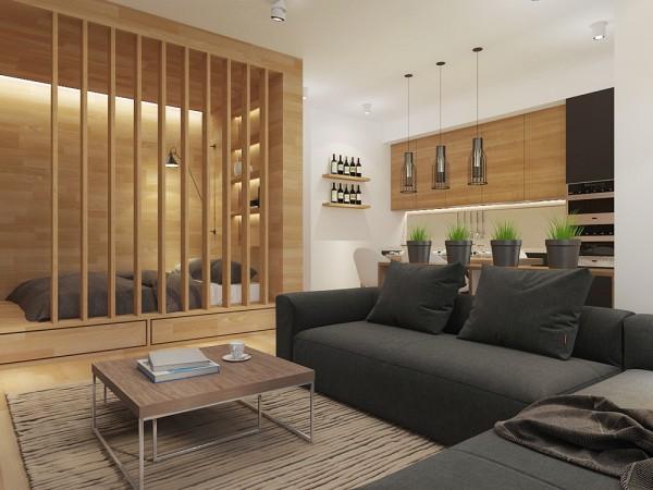 Bằng việc sử dụng những thanh gỗ mảnh nhằm ngăn cách không gian phòng khách với khu vực nghỉ ngơi đã góp phần làm phong cách thiết kế này trở nên đơn giản hơn rất nhiều.