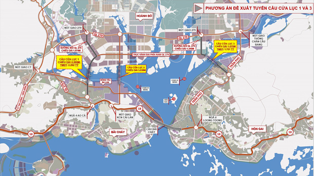 Bản đồ quy hoạch vị trí dự kiến xây dựng các cầu Cửa Lục.